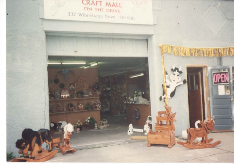 Store front with items on display