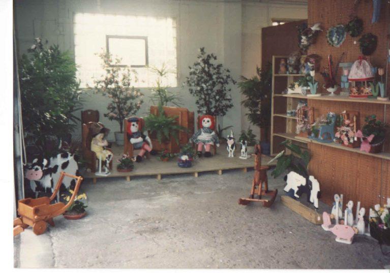 Raggedy dolls on display
