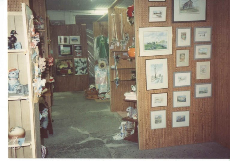 View of craft shelves